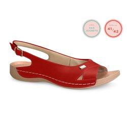 Sandália Especial para Joanete - Vermelha - CAL6390 - Pé Relax Sapatos Confortáveis