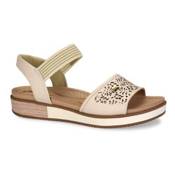 Sandália Anabela Confort - Bege - CAL6633 - Pé Relax Sapatos Confortáveis