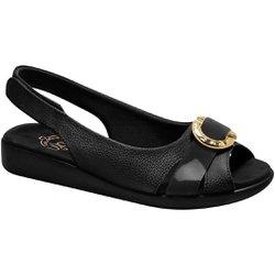 Sandália Feminina Anatômica - Preta - MA14041PT - Pé Relax Sapatos Confortáveis