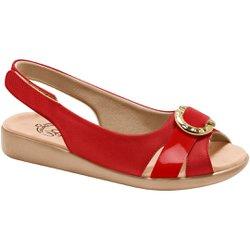 Sandália Feminina Anatômica - Vermelha - MA14041VM - Pé Relax Sapatos Confortáveis