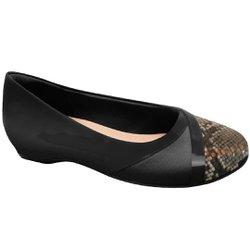Sapatilha Feminina Salto Interno- Preta - MA116042P - Pé Relax Sapatos Confortáveis