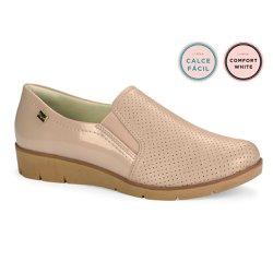 Sapato Casual Feminino - Bege - CAL6550 - Pé Relax Sapatos Confortáveis