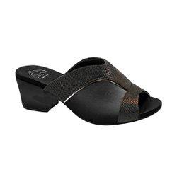 Tamanco Mule para Joanete - Preto Lezard - MA176084 - Pé Relax Sapatos Confortáveis