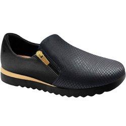 Tênis Casual Confort Feminino - Preto - MA796005PT - Pé Relax Sapatos Confortáveis