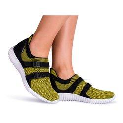 Tênis Caminhada Feminino - Amarelo - KOK8528AM - Pé Relax Sapatos Confortáveis