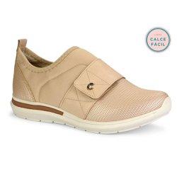 Tênis Casual Feminino - Bege - CAL6571 - Pé Relax Sapatos Confortáveis