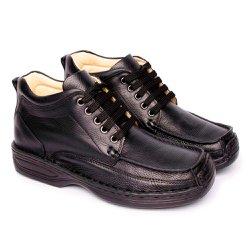Bota Masculina Couro - Preta - FB16020P - Pé Relax Sapatos Confortáveis