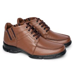Botinha Masculina Couro - Chocolate - FB2093CH - Pé Relax Sapatos Confortáveis