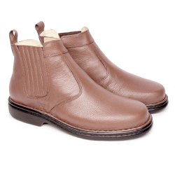 4ab256b38 Bota em Couro Masculina - Brown - FB690B - Pé Relax Sapatos Confortáveis