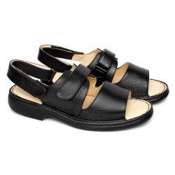 Sandália de Couro com Velcro - Preta - FB653P - Pé Relax Sapatos Confortáveis