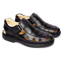 Sandália Masculina Fechada Tamanho Grande - Preta - FB658P - TG - Pé Relax Sapatos Confortáveis