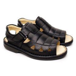 Sandália Masculina em Couro Conforto Tipo Anti Estresse - Preta - FB65901PT - Pé Relax Sapatos Confortáveis