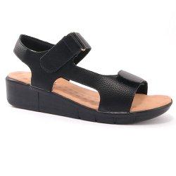 Sandália para Pé Alto - Preta / Bege - MA585001MPB - Pé Relax Sapatos Confortáveis