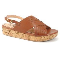 Sandália Anabela Confortável em Couro - Marrom - VP102023 - Pé Relax Sapatos Confortáveis