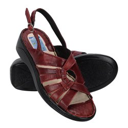 Sandália Confortável Para Senhoras - Vermelha - FB266V - Pé Relax Sapatos Confortáveis