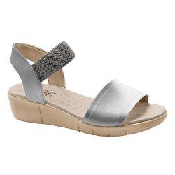 Sandália Feminina Confortável - Prata - MA585017PR - Pé Relax Sapatos Confortáveis