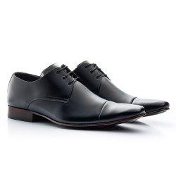 Sapato Masculino Couro Preto - BI307P - Pé Relax Sapatos Confortáveis