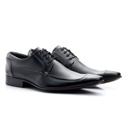 Sapato Derby Masculino Preto - BI371P - Pé Relax Sapatos Confortáveis