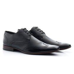 Sapato Brogue Masculino Preto - BI516PT - Pé Relax Sapatos Confortáveis