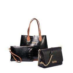 831924a8c Bolsa Feminina Kit Com 3 Bolsas Grande Pequena E N..