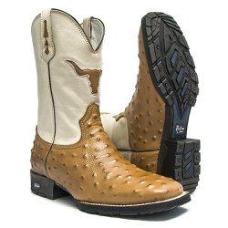 Bota Texana Masculina - Avestruz Réplica Havana / Marfim - Roper - Bico Quadrado - Cano Médio - Solado VRX - PalFlex - 81159-A-PF