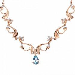 Gargantilha com Diamantes e Topázio Azul