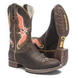 Bota Texana Masculina - Crazy Horse Café / Brown - Roper - Bico Redondo - Cano Médio - Solado Colorado - West Country - 81165-A-WC