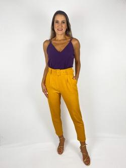 Calça Linho Mostarda - Patricia Rios
