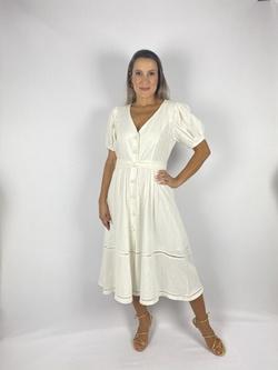 Vestido Midi Manga Bufante Off White - Patricia Rios