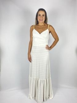 Vestido com Alça Madeira Off White - Patricia Rios