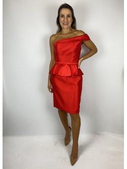 Vestido Curto Zibeline De Seda Vermelho - Patricia Rios