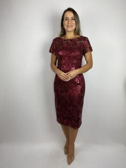 Vestido Tubinho Renda Marsala - Patricia Rios