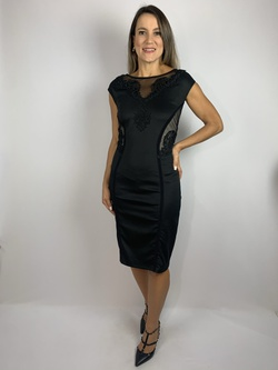 Vestido Tubinho Com Renda Preto - Patricia Rios