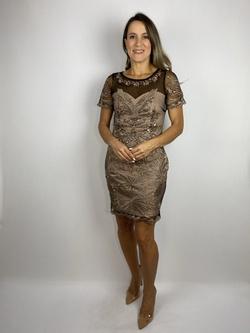 Vestido Curto Butterfly Nude Com Preto - Patricia Rios