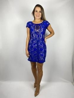 Vestido De Renda Azul Royal - Patricia Rios
