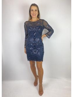 Vestido Curto Com Manga Azul Marinho - Patricia Rios