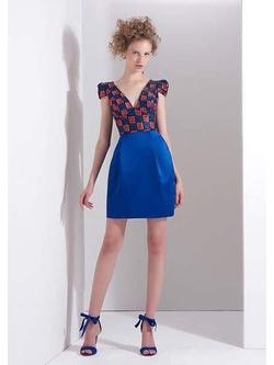 Vestido Premium Cetim Azul Royal - Patricia Rios