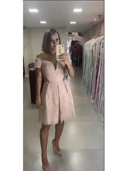Vestido Evasê Bordado Nude - Patricia Rios