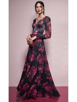 Vestido Peônia Preto Com Pink - Patricia Rios