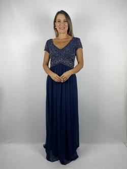 Vestido Crepe Bordado Azul Marinho - Patricia Rios