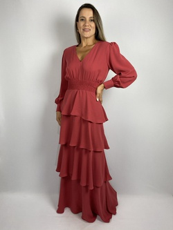 Vestido Camadas Coral - Patricia Rios
