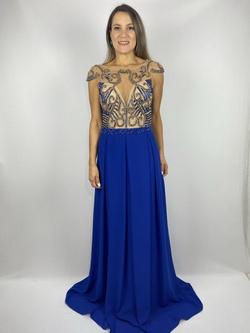 Vestido Bordado Arabesco Azul Royal - Patricia Rios