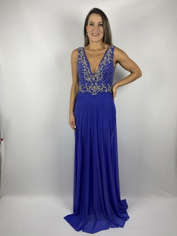 Vestido Reto Bordado Azul Royal - Patricia Rios