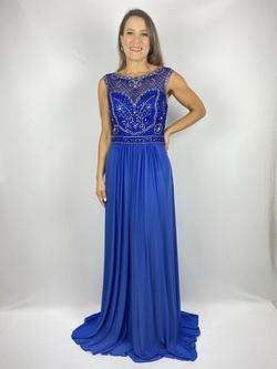 Vestido Evasê Bordado Azul Royal - Patricia Rios