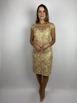 Vestido Nude Golden Dourado - Patricia Rios