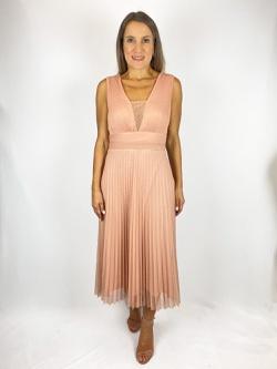 Vestido Midi Poa Rosa - Patricia Rios