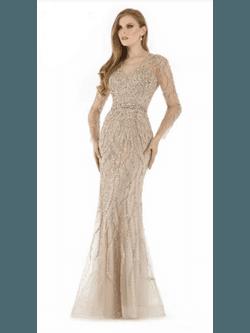 Vestido Todo Bordado Champagne - Patricia Rios