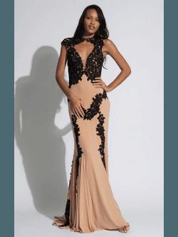 Vestido Bordado Preto Bege - Patricia Rios