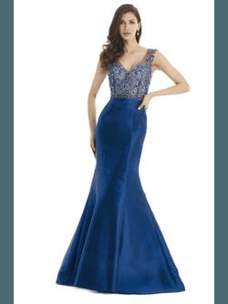 Vestido Zibeline Bordado Azul - Patricia Rios