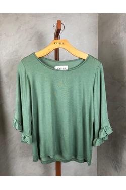 Blusa manga babado verde - LATELIE
